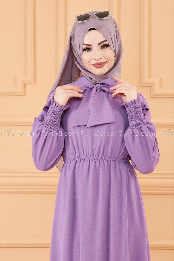 فستان بتفاصيل الكم موف- 20162