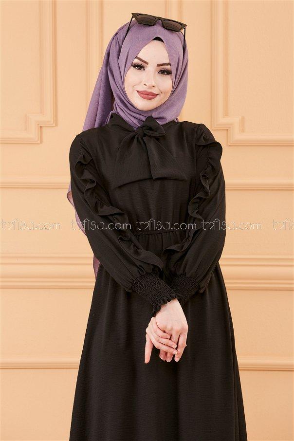 فستان بتفاصيل الكم أسود - 20162