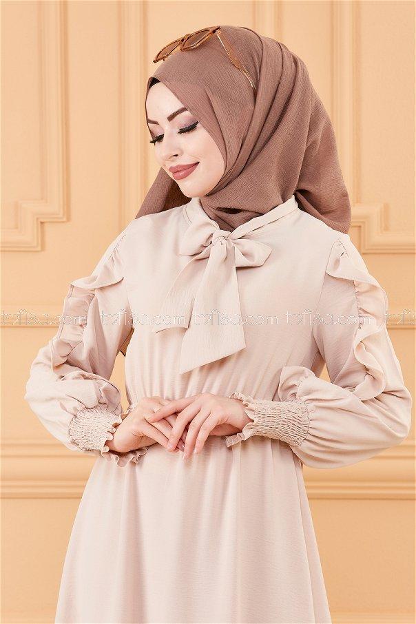 فستان بتفاصيل الكم بيج - 20162