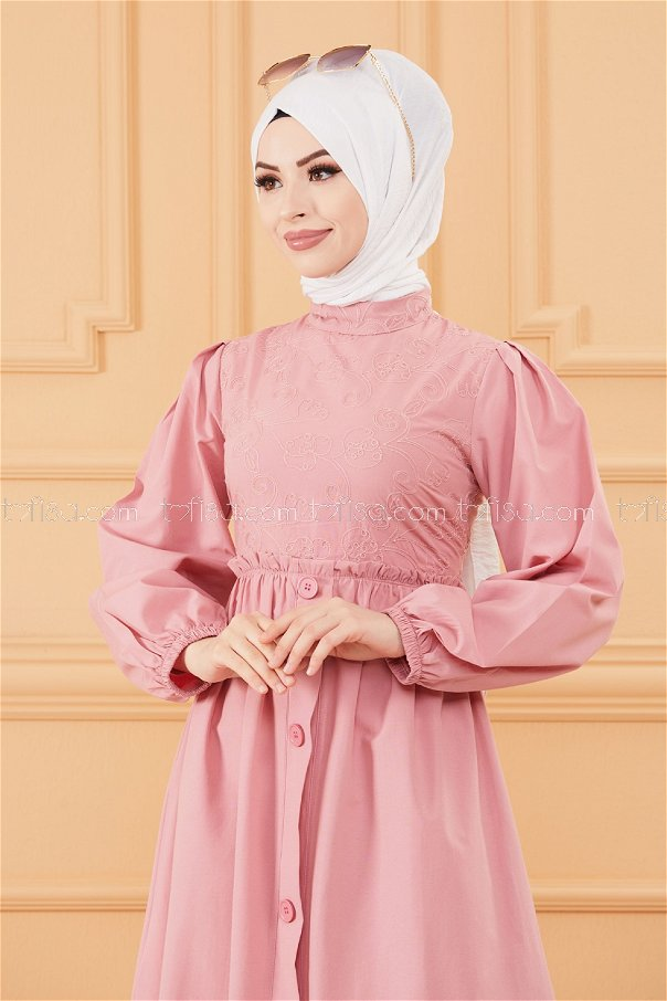 فستان لون زهري فاتح 20163