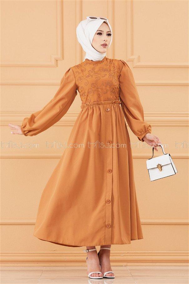 فستان لون بني 20163