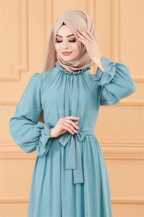 فستان مزود بحزام لون ازرق فاتح 20170