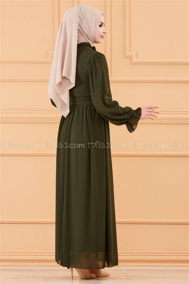 فستان مزود بحزام لون زيتي 20170