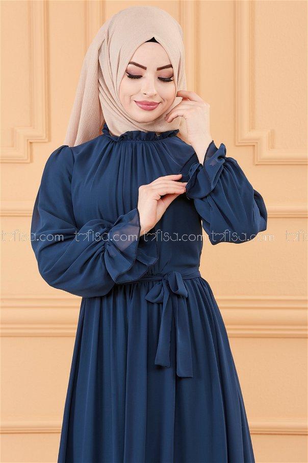 فستان بحزام لون ازرق داكن 20170
