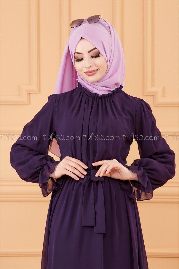 فستان مزود بحزام لون موف 20170