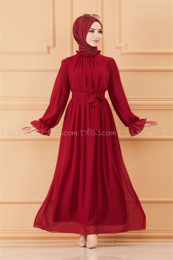 فستان مزود بحزام لون خمري 20170