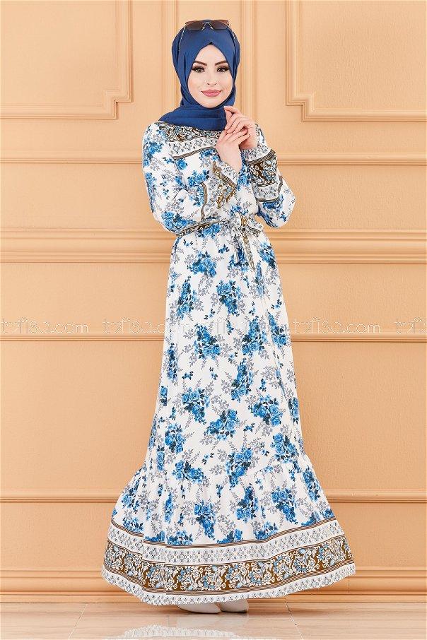 فستان منقوش ابيض ازرق داكن- 20176