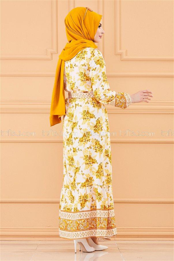 فستان منقوش ابيض اصفر - 20176