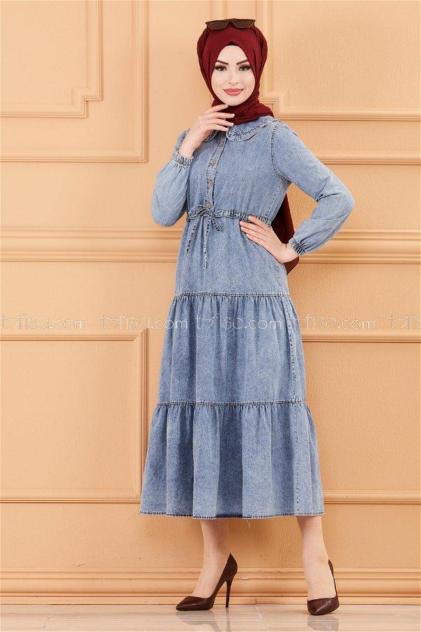 فستان جينز لون ازرق 20195