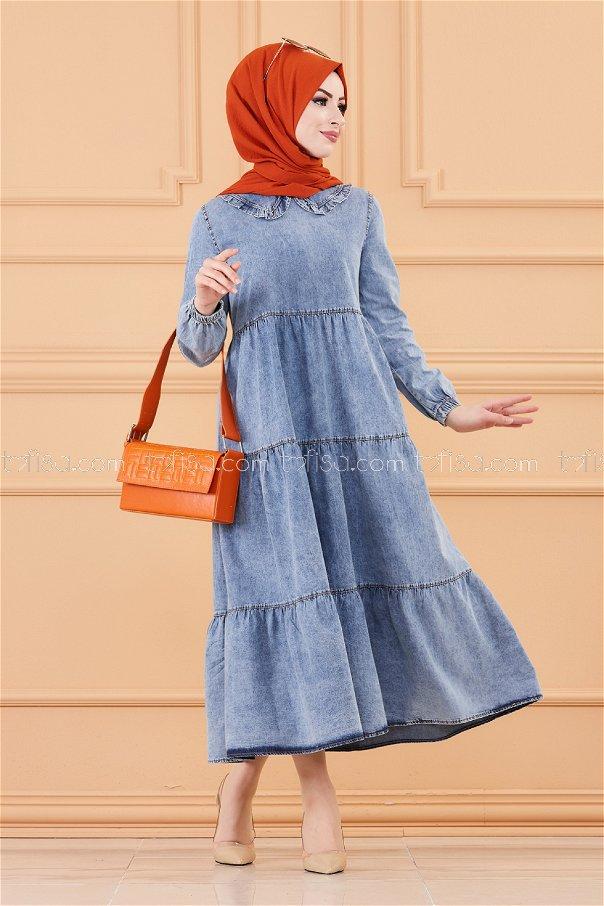فستان جينز لون ازرق 20237