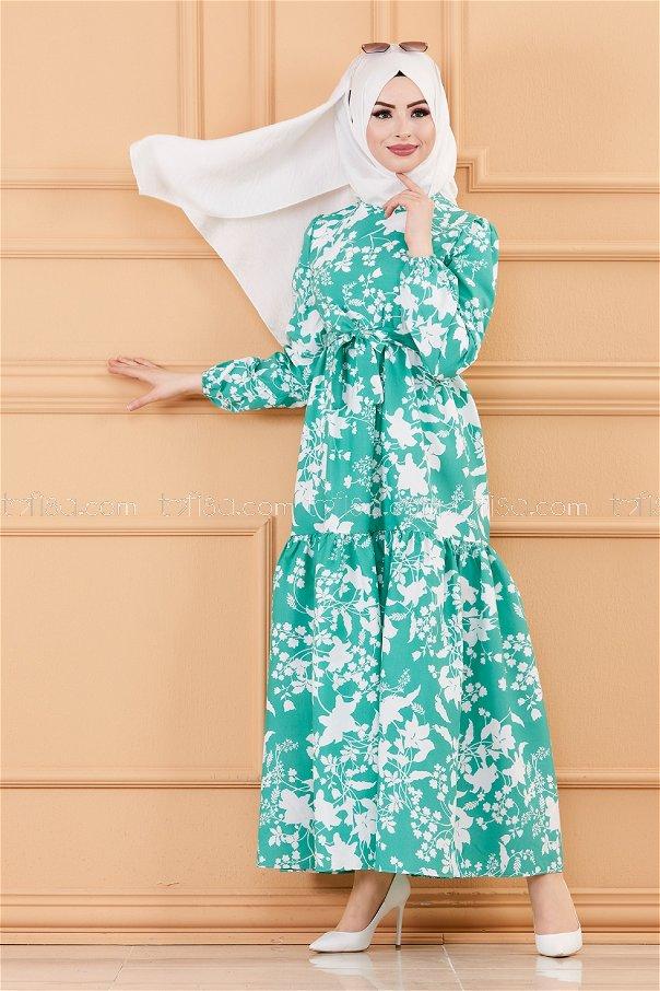 فستان لون اخضر 20241