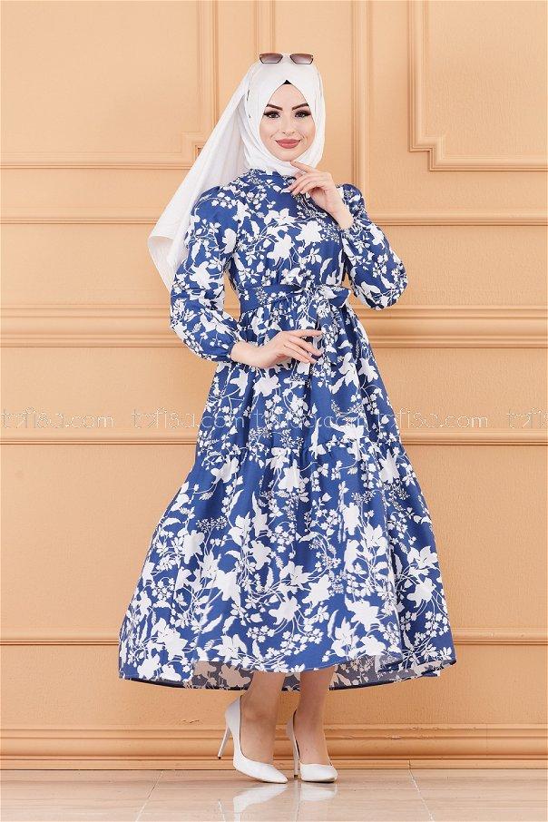 فستان لون ازرق داكن 20241
