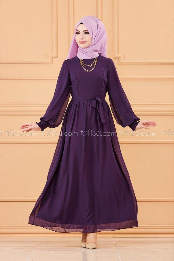 فستان لون موف 20268