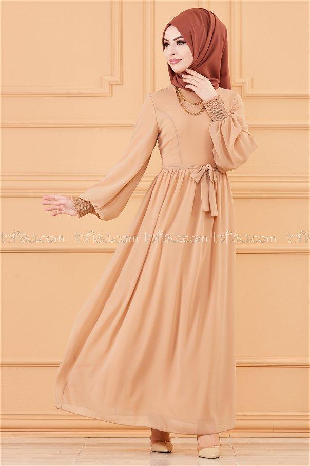فستان لون بيج 20268