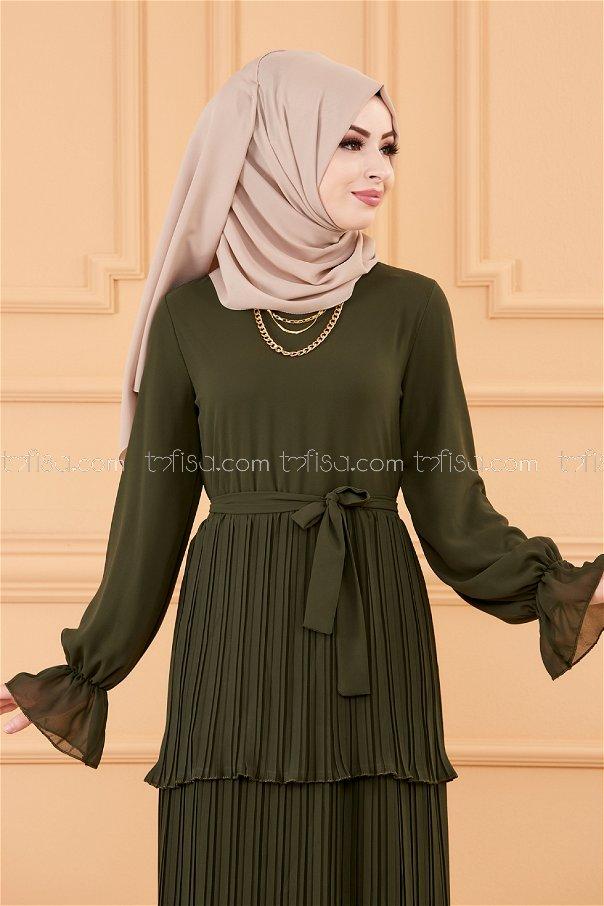 فستان لون زيتي 20269