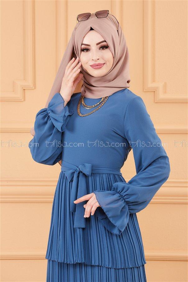 فستان لون نيلي 20269