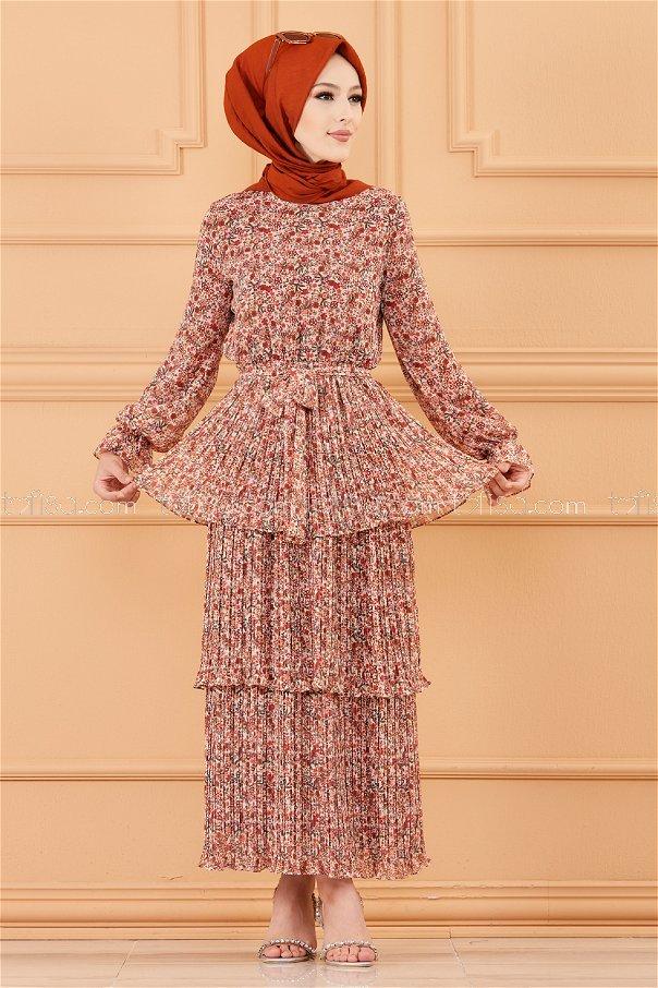 فستان لون بني 20362