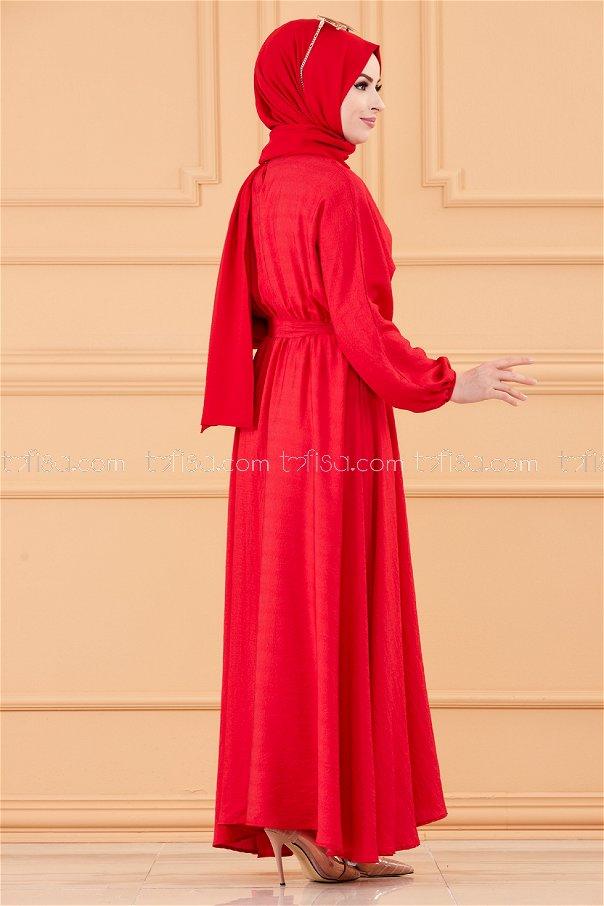 فستان لون احمر 20518