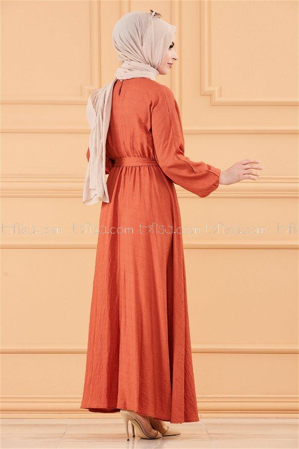 فستان لون قرميد 20518