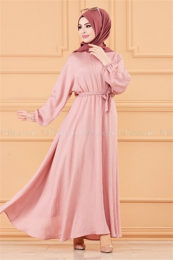 فستان لون وردي 20518