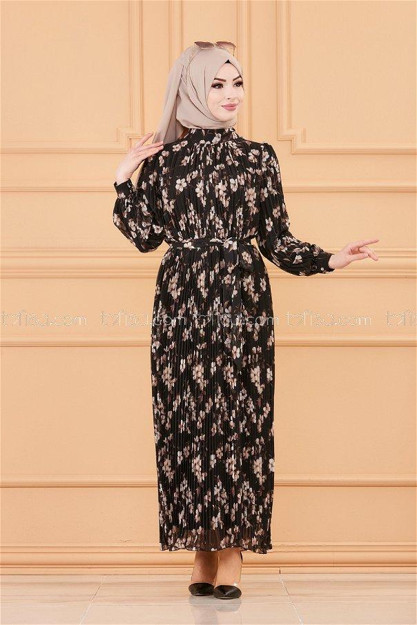 فستان مطوي بياقة أسود - 20520