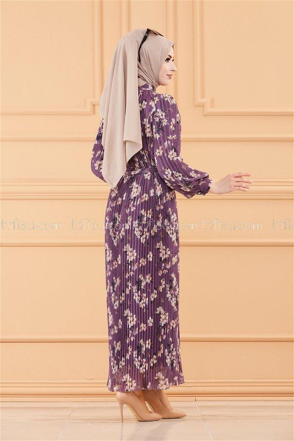 فستان مطوي بياقة موف - 20520