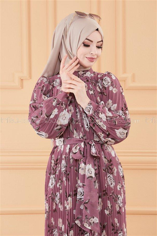 فستان مطوي بياقة وردي - 20520