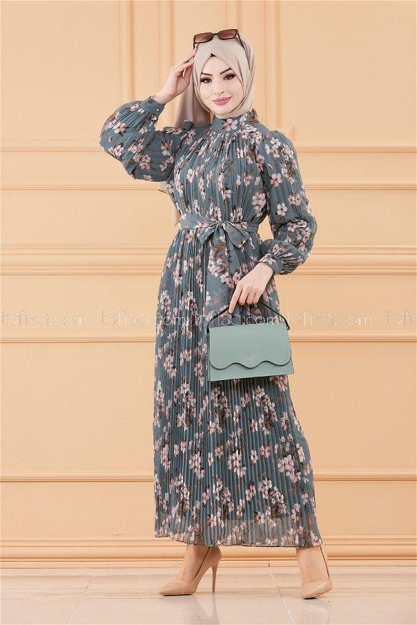 فستان مطوي بياقة زيتي فاتح- 20520