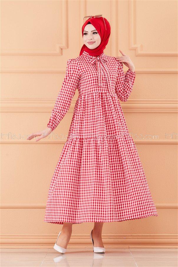 فستان لون احمر 20565