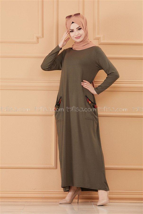 فستان لون زيتي 20641