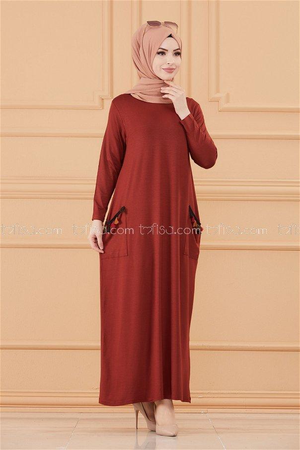 فستان لون قرميد 20641