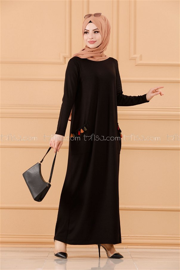فستان لون اسود 20641