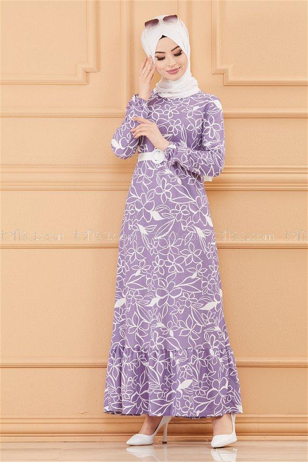 فستان بحزام لون ليلكي 20644