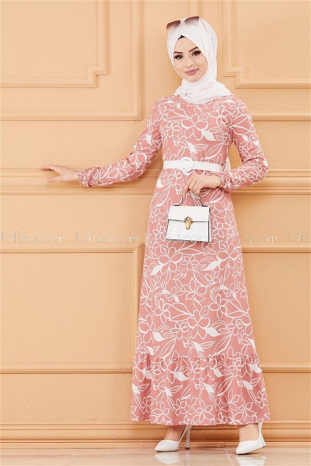 فستان بحزام لون وردي 20644