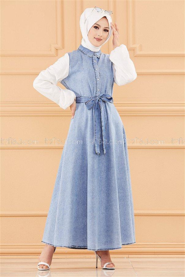 فستان جينز لون ازرق فاتح 20666