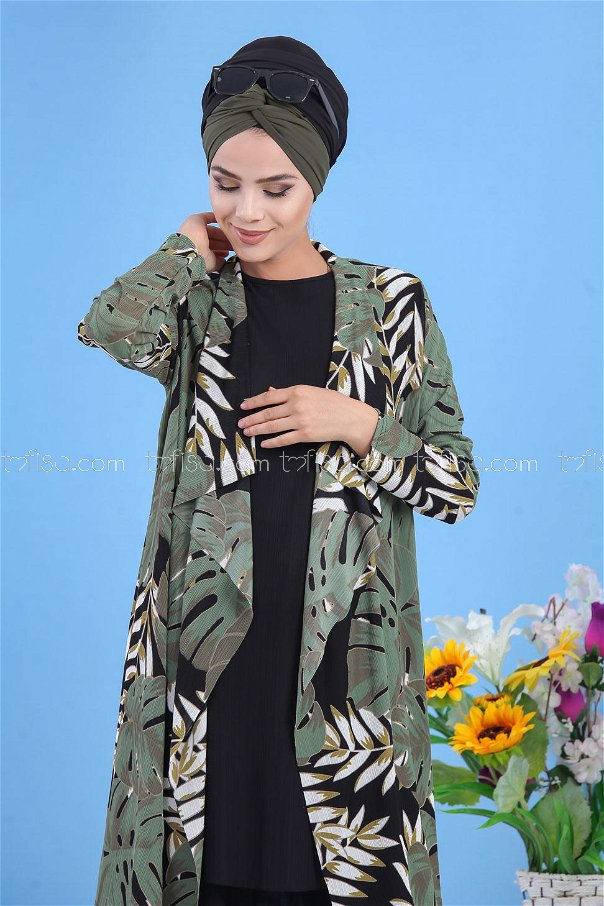( 3 piece ) *** Cardigan and Tunic and Pants black 02 7340
