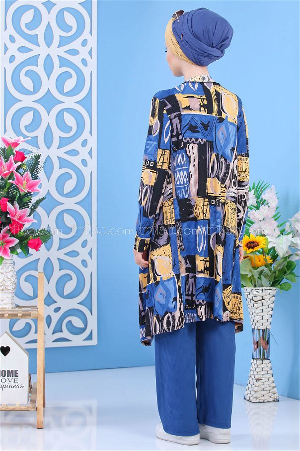 ( 3 piece ) *** Cardigan and Tunic and Pants blue 02 7340