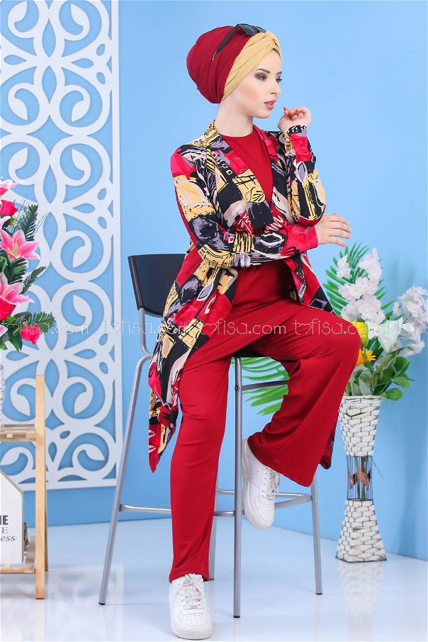 ( 3 piece ) *** Cardigan and Tunic and Pants claret red 02 7340