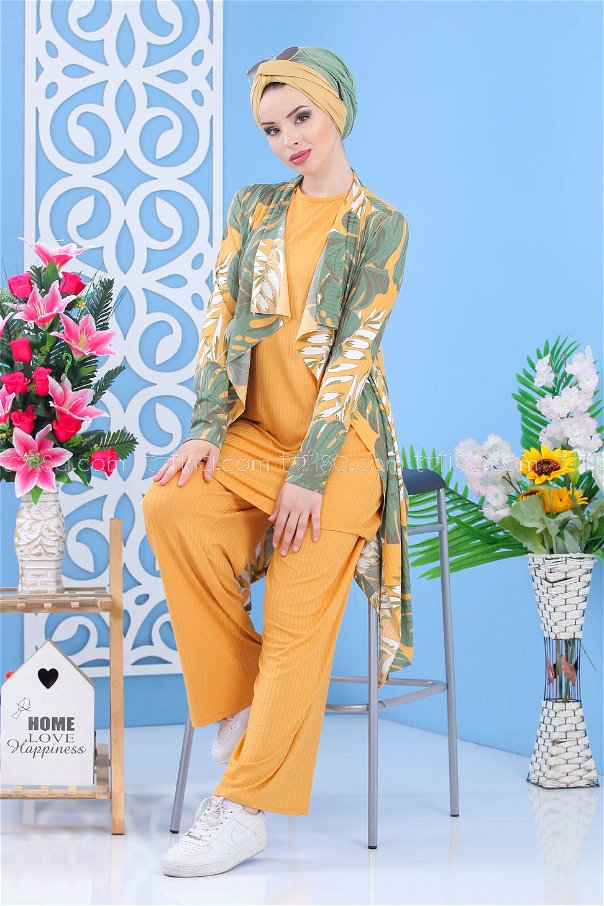 ( 3 piece ) *** Cardigan and Tunic and Pants Green 02 7340