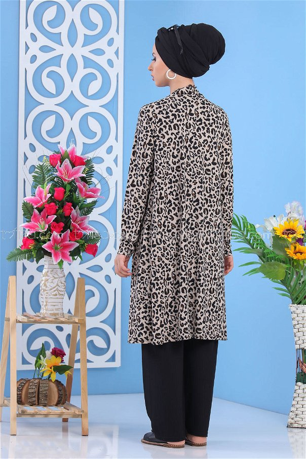 ( 3 pieces ) *** Cardigan and Tunic and pants Combine mink 02 - 7481