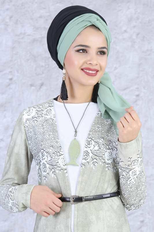 (3 Pieces) Cardigan , Tunic , Necklace Combine - Green 03 5084
