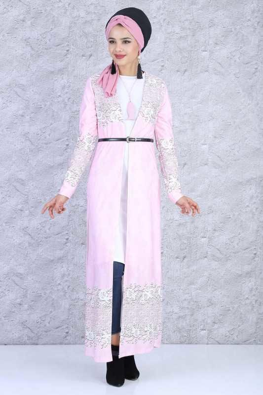 (3 PİECES) Cardigan , Tunic , Necklace Combine - Pink - 03 5084