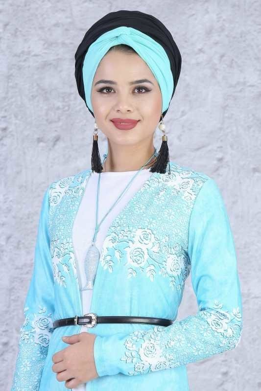(3 Pieces) Cardigan , Tunic , Necklace Combine - Turquoise 03 5084