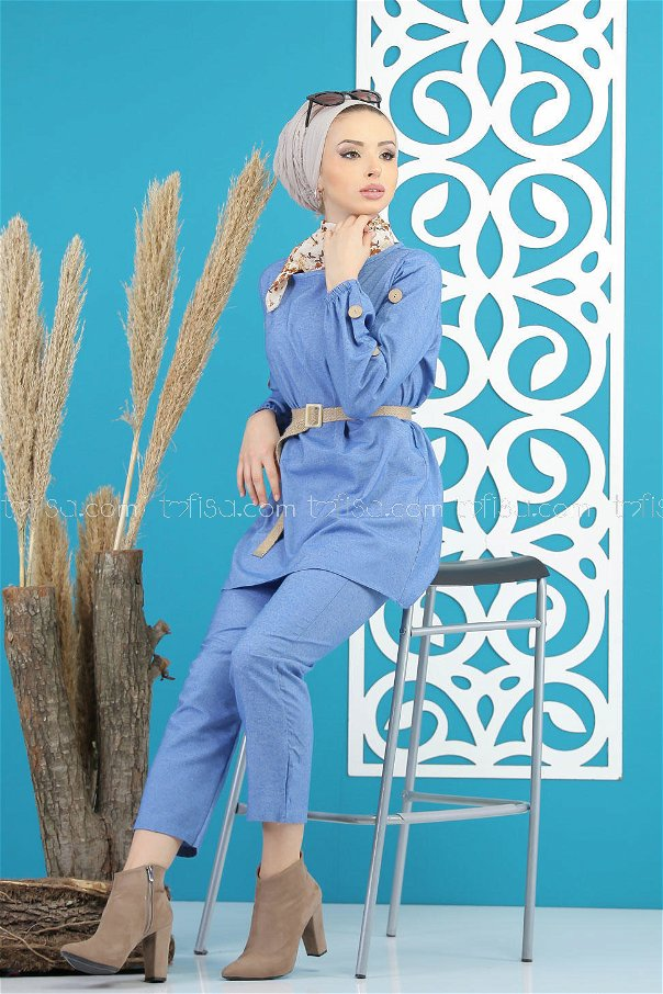 3 pieces Tunic and pants and belt Combine blue - 7820