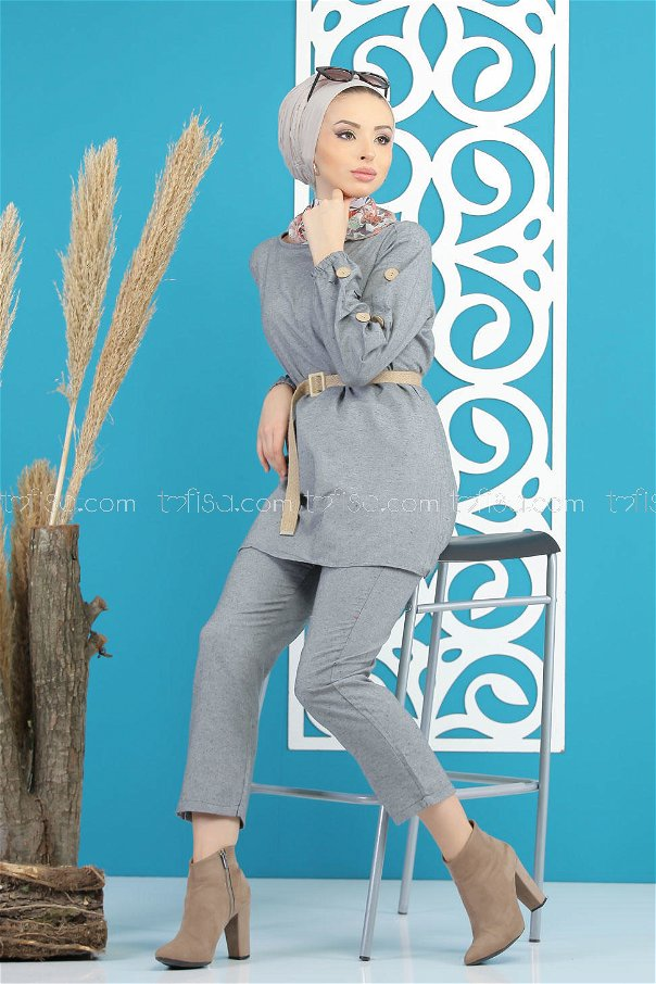 3 pieces Tunic and pants and belt Combine gray - 7820