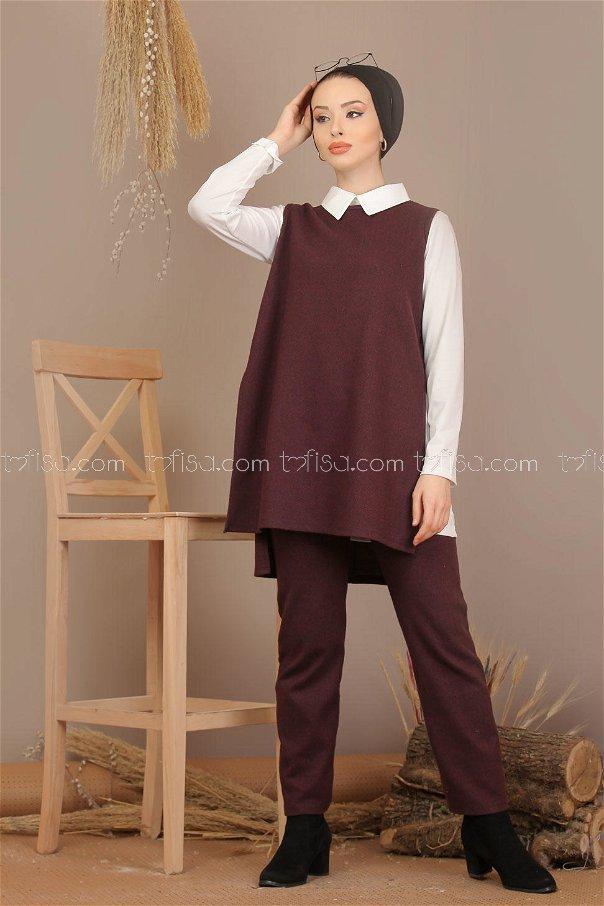 3 pieces Tunic and pants and Gilet claret red - 7907