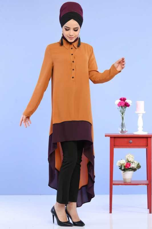 (3 Pieces) Tunic, Pants and Earrings Combine - Taba & Black 02 0799