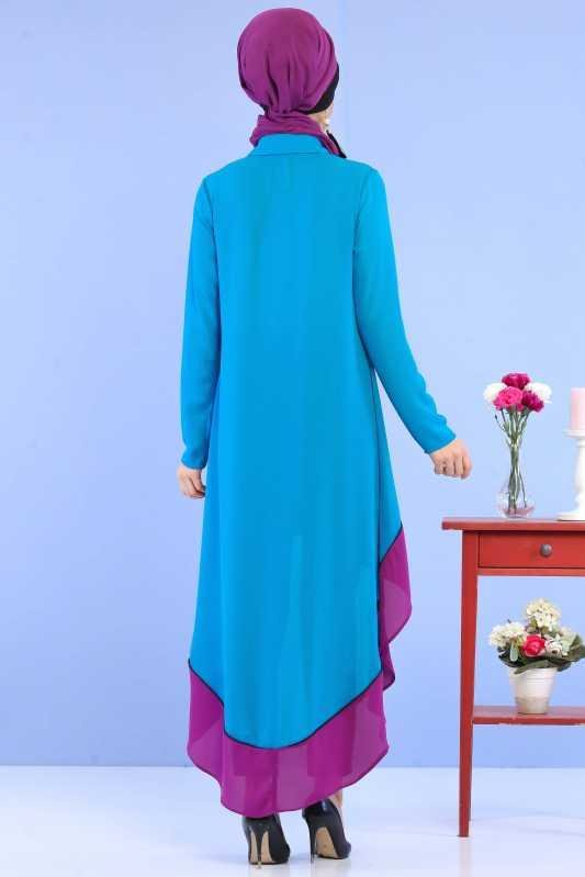(3 Pieces) Tunic, Pants and Earrings Combine - Turquoise & Black 02 0799