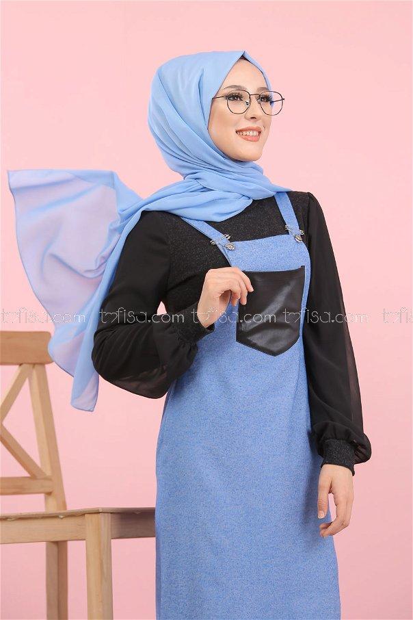 فستان بحمالات ازرق - 3006