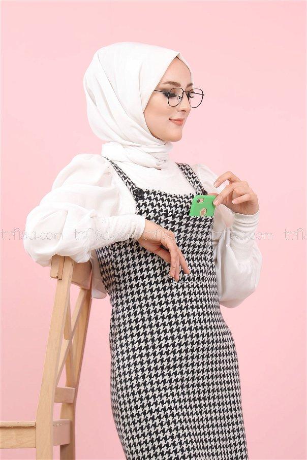 فستان بحمالات مربعات ابيض اسود - 3010